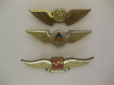 Vintage Junior Pilot Wings Pinbacks Western Delta Northwest (Lot of 3)
