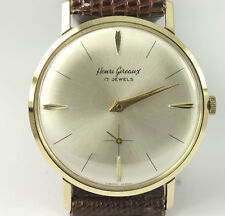 Vintage Henri Gireaux estate watch 14K yellow gold mechanical C. 1960's 33.7MM