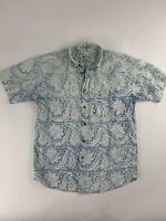 Orvis Men's M Button Down short Sleeve Shirt Blue Floral 100% Cotton EUC #AU17