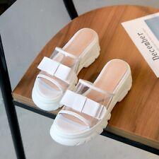 Women Transparent Rubber Bow Peep Toe Slippers Platform Heel Mules Slip On Shoes