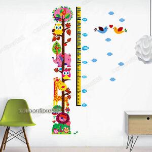 Owls Lion Giraffe Jungle Animals Height Chart Wall Decal Sticker Child Kids Room