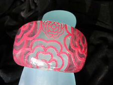 Chunky Lucite Plastic with Retro Style Pink Flower Motif Thick Bangle Bracelet