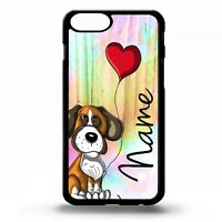Boxer dog puppy pet cute cartoon graphic art personalised name phone case cover