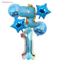 6/5pc Dinosaur Foil Balloons Set Crown Dinosaur Star Number Birthday Party Decor