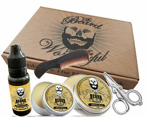Beard & Mustache Styling Set.Beard Balm,Beard Oil,mustache Wax,Comb & Scissors