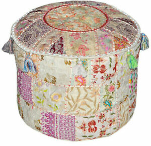 Indian Embroidery Patchwork Living Room Outdoor Décor Ottoman Round Pouf Foots
