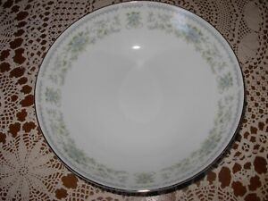 "Nitto Hanover 9"" Round Serving Vegetable Bowl White Blue Silver Dish 4867 Japan"