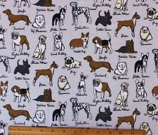 SNUGGLE FLANNEL* VARIETY of DOG BREEDS on GRAY 100% Cotton Fabric NEW BTY