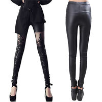 Fashion Sexy Women Faux Leather Gothic Punk Leggings Pants Lace Skinny Trousers