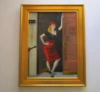 CURRAN 1950'S POSED FEMALE WOMAN MID CENTURY URBAN MOD PAINTING RISQUE VINTAGE
