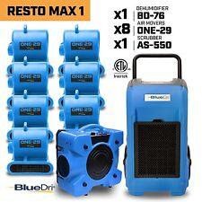 BlueDri™ Resto Max 1 | x1 Dehumidifier x8 Air Movers x1 Air Scrubber Blue