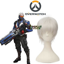 Overwatch OW Soldier 76 Silver White 30cm Short Layered Halloween Cosplay Wig