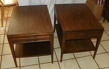 Pair of Walnut Formica Top Mid Century Mersman Side Tables /  End Tables  (T111)