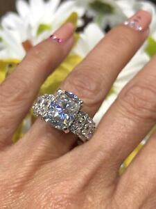 8.30 Ct Cushion Cut Diamond Wedding Engagement Ring 14K White Gold Finish