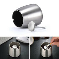 "3"" Indoor Round Smoking Cigarette Holder Ash Stainless Steel Ashtray Silver Tone"