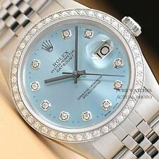 MENS ROLEX ICE BLUE DIAMOND DIAL & BEZEL DATEJUST 18K WHITE GOLD/SS WATCH