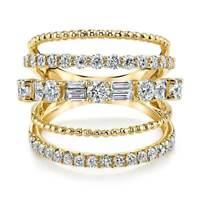 Infinity Women Yellow Gold Plated Jewelry Cubic Zircon Wedding Rings Size 6-10
