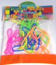 KIDS 2 x NEON SILLY SHAPE ALPHABET Rubber Elastic Bands PARTY B'DAY GIFT BAG NEW