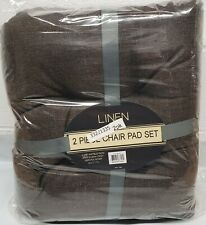 """2 Thick Reversible Linen Cushion Chair Pads with ties (16""""x17"""") Dark Brown Color"""