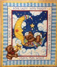 """Vintage Baby Blanket Quilt """"Starlight Starbright"""" Crescent Moon Bears Handmade"""