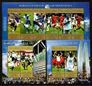 GRENADA CARRIACOU 2002 WORLD SOCCER CUP  QUARTER FINALS MNH SL6 +  2 MS [#1128]