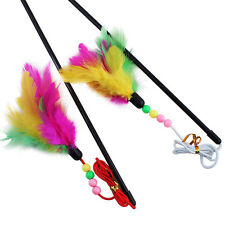 Pet cat toy cute bird colorful feather teaser wand plastic toy for cats Fu