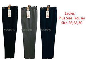 Ladies Women Smart Fit Half Elasticated Waist Pull On Plus Size Trouser UK Made