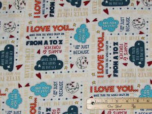 Love you to the Moon and Back Just Because Words Tan Fabric by the 1/2 Yd #7155
