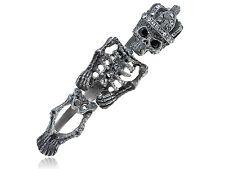 Unique Antique Three Ring New Clear Crystal Rhinestones Skeleton Bone Ring New