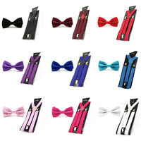 Mens Solid Color Pre-tied Stain Bow Bowtie Stretch Y-Shape Suspenders Braces Set