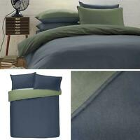Navy Duvet Covers Green Flannelette 100% Brushed Cotton Quilt Cover Bedding Sets