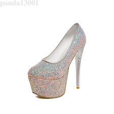 Ladies Shiny Slip On Round Toe Platform High Heel Pumps Wedding Shoes Plus Size