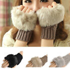 Hot Sale Women Ladys Fingerless Fur Winter Warm Wrist Knitted Wool Mitten Gloves