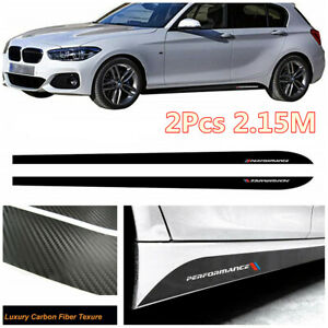 2Pcs Performance Side Skirt Sill Decal Carbon Fiber Texture Stripe Car Stickers
