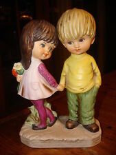 1971 Fran Mar MOPPETS FIGURINE Boy & Girl Holding Hands