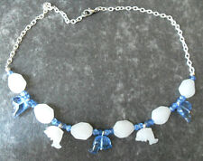 """18"""" necklace, blue, white glass dolphins + glass beads"""