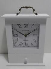 Kaminuhr LONDON 1870 Weiß Schubkasten & Metallgriff Vintage Shabby Tischuhr Uhr
