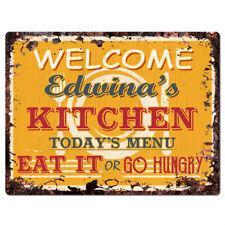 Ppkm0821 Edwina'S Kitchen Rustic Chic Sign Funny Kitchen Decor Birthday Gift