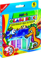 Amos Glass Deco - PACK OF 6 COLORS. Make Stained - Glass by Yourself - Peelable