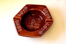 Cendrier vintage publicitaire céramique héxagonale LOTO marron - très bon état