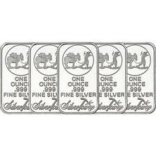 SilverTowne Logo 1oz .999 Fine Silver Bar 5 Piece Lot