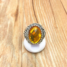 NEW Vintage Jewelry 316L Stainless Steel Fashion Design amber Ring Size 9 R15T9
