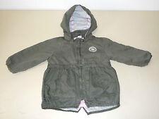 Kinderjacke Jacke H&M 86 Olive Rosa Leicht Parka Kapuze Baumwolle Kapuzenjacke