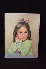 Vintage Oil Painting Big Blue Eyes Eyed Girl With Bow Brown Hair Signed 12 x 16
