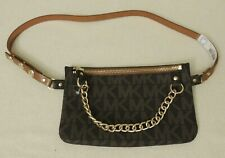 MICHAEL KORS MK Signature Metal Chain Leather Fanny Pack Belt Bag 554131C S BRWN