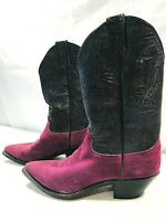 Justin Womens Cowboy Boots Calf High Purple and Black Size 7