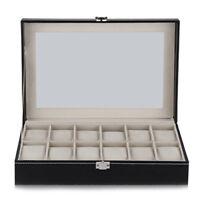12 Grid Watch Display Case Wrist Watch Storage Box Jewelry Storage Organize M4C7