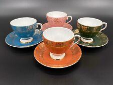 Royal Grafton Gold Lace Tea Cup Saucer Set of 4 Rainbow Bone China England Rare