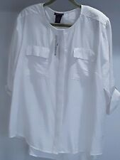 Beverly Dr women 16/18 white blouse 2 flap pockets short sleeve cov'd buttonsNWT