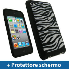 Nero/Bianco Custodia per Apple iPod Touch 4G Silicone Skin Case Cover